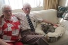 DIAMOND COUPLE: Frances and Des Timmins of Marton, with Buttons.PHOTO/LIN FERGUSON