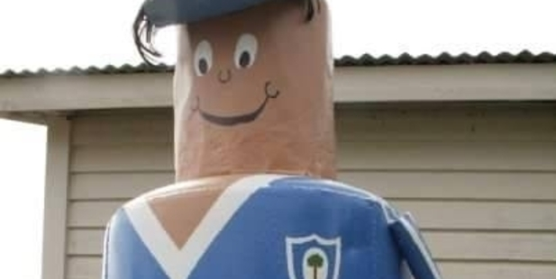 """DUMPED: A large letterbox, named """"Gammie"""", was stolen from a Northland home but a social media campaign from his rugby-mad family want saw him found.PHOTO/ SUPPLIED"""