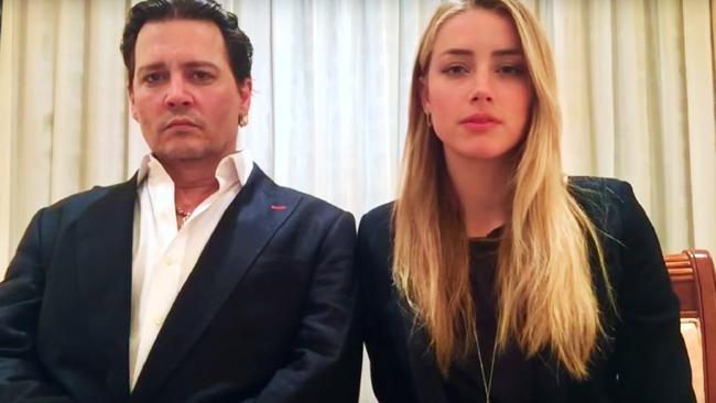 Screen grab of Johnny Depp and Amber Heard speaking for an Australian Biosecurity video.