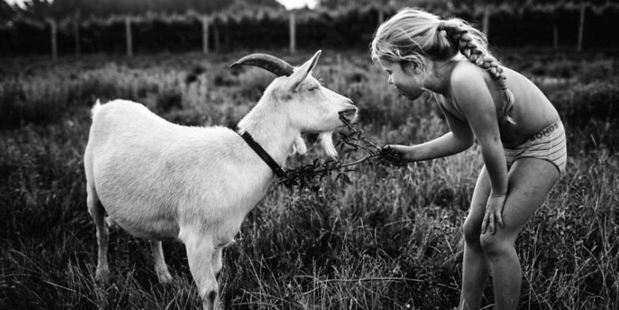 Goat whisperer: A lot of the photos in the series show the four children running around meadows with farm animals. Photo / Niki Boon
