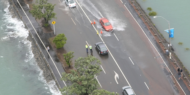 Flooding along Auckland's Tamaki Drive. Photo / Greg Bowker