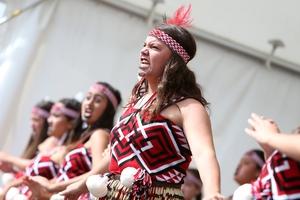Bream Bay College's Shanae Doake-Smith, 15, at the Te Tai Tokerau Kapa Haka Festival at Otamatea High School. Photo / Michael Cunningham