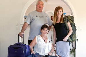 Deirdre and Neil Nottle and Deirdre's daughter Kirsten Hauschild are preparing for an emotional trip to take part in 75th anniversary commemorations for the Battle of Crete. Photo / Andrew Warner