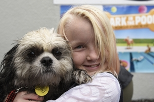Cody  and Zara Sutherland, 8 at Bark in the Pool.
