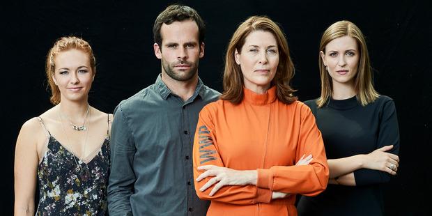 Loading Tai Berdinner-Blades, Tim Carlsen, Jennifer Ward-Lealand and Victoria MacCulloch in TVNZ's new drama series Dirty Laundry. Photo / Supplied TVNZ.