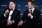 Steve Hansen, coach of the All Blacks with All Blacks Captain Richie McCaw on behalf of the All Blacks. Photo / Getty Images.