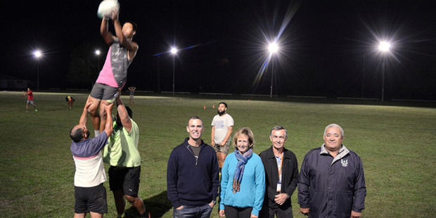 New lights at Edgecumbe Domain made possible by the Eastern Bay Energy Trust.  Trustees Wade Brown, Donna Smit, EBET Chairman Don Lewell and Edgecumbe Sports Club President Parekura Hale.