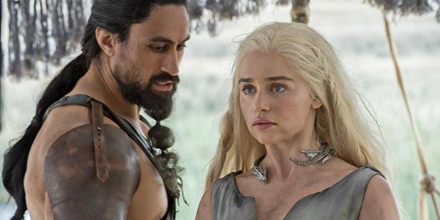 Loading New Zealand actor Joe Naufahu as Khal Moro with Emilia  Clarke as Daenerys Targaryen. (HBO)