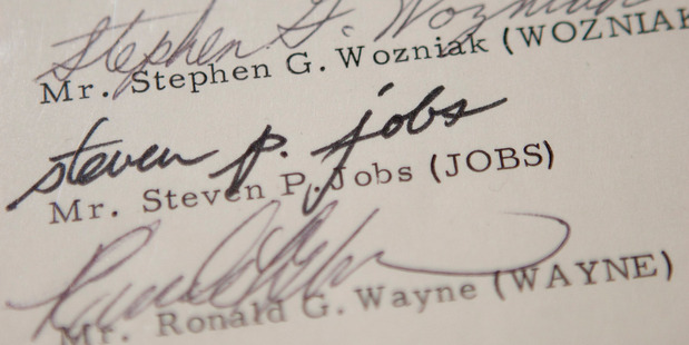 An amendment to the Apple Inc. founding partnership agreement signed by Steve Wozniak, Steve Jobs and Ronald Wayne. Photo / Getty