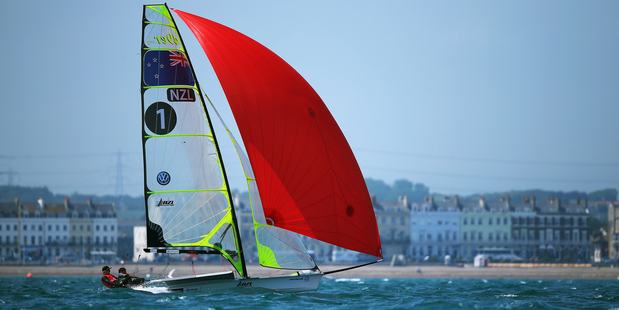 Peter Burling and Blair Tuke in action the Men's 49er race during the ISAF Sailing World Cup. Photo / Getty Images