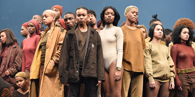 Models pose during Kanye West Yeezy Season 3 at Madison Square Garden. Photo / Getty Images