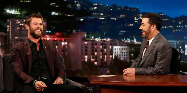 Chris Hemsworth talks to TV show host Jimmy Kimmel. Photo / Getty Images