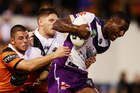 Former St Kentigern College and Blues rugby development squad member Suliasi Vunivalu in action for Melbourne Storm against Wests Tigers. Photo/Getty.