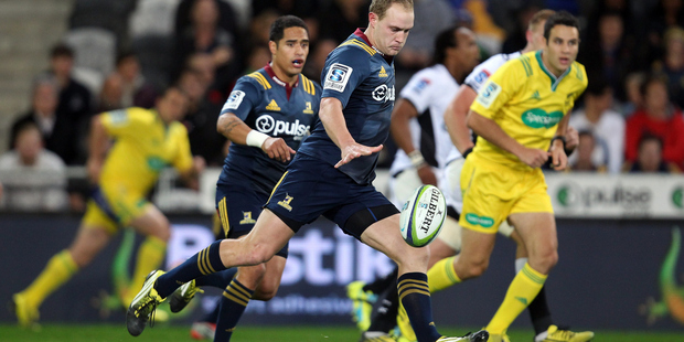 Matt Faddes of the Highlanders prepares to kick. Photo / Getty Images