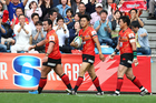 Yasutaka Sasakura of the Sunwolves celebrates scoring. Photo / Getty