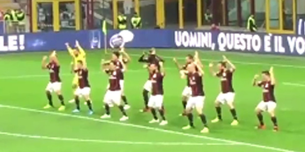 Loading Before their game against Carpi last night, AC Milan appeared to perform a haka. Photo / YouTube.