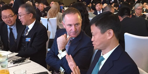 Prime Minister John Key meets with Alibaba founder Jack Ma. Photo / Barry Soper