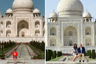 This two-picture combo shows a Feb. 11, 1992 file photo of Princess Diana sitting in front of the Taj Mahal, left, and her son Prince William sitting with his wife Kate, the Duchess of Cambridge, in t