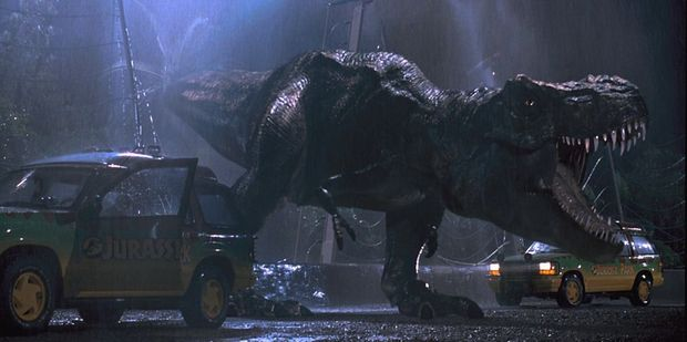 A scene from the 1993 Jurassic Park movie.