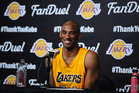 Kobe Bryant addresses media after making his final NBA appearance. Photo / Getty