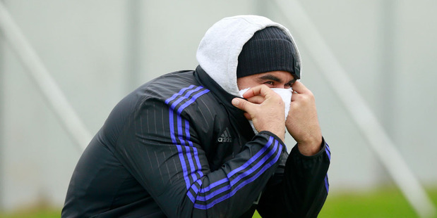 Liam Messam of the All Blacks sits out training with a cold during a New Zealand All Blacks training session. Photo / Getty Images.
