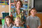 Visiting children's writer Jennifer Somervell with Turakina School pupils Annabel Bidby 6, Libby Hoban 6, and Taiaha Ihaia 10. WGP 18Apr16 - INSPIRED: Turakina School pupils Annabel Bidby, 6