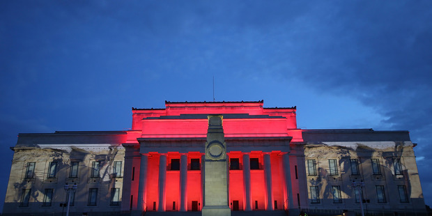 The lights illuminate the Auckland War Memorial Museum in 2015. Photo / Getty Images