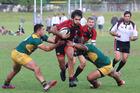 Whakarewarewa's Te Rangi Fraser on the charge against Mount Maunganui Sports at Blake Park on Saturday. Photo / Rick Moran