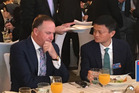 John Key with Jack Ma, founder of the Alibaba Group, at lunch in Beijing. Photo / Supplied