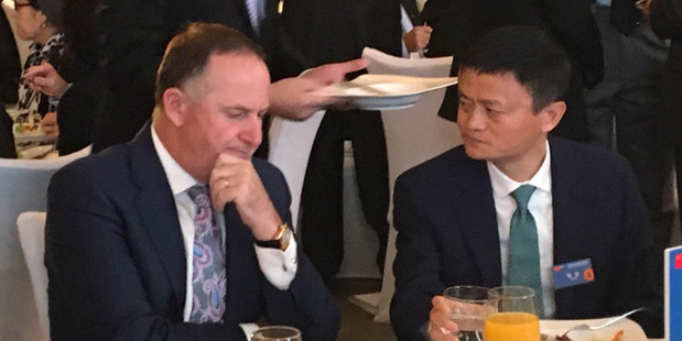 New Zealand Prime mInister John Key with Jack Ma, founder of the Alibaba Group. Photo / Murray Holdaway