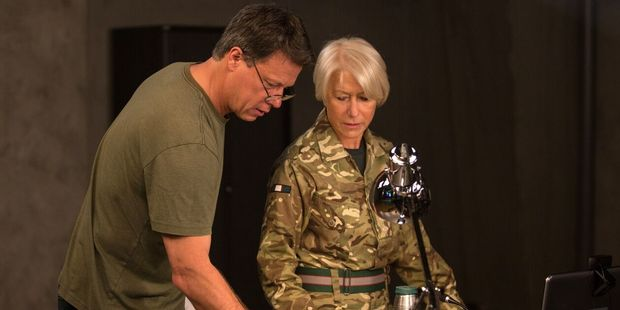 Gavin Hood with Helen Mirren on the set of Eye in the Sky. Photo / Supplied