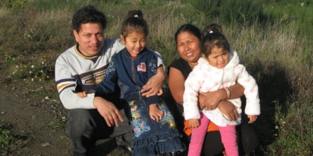 Mon Chhetri and Tula Ram Chhetri with two of their daughters. Photo / Supplied