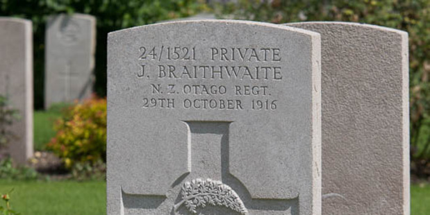 Loading Executed New Zealander Jack Braithwaite's grave at St Sever Cemetery Extension, Rouen, Seine-Maritime, France. Photo / Supplied