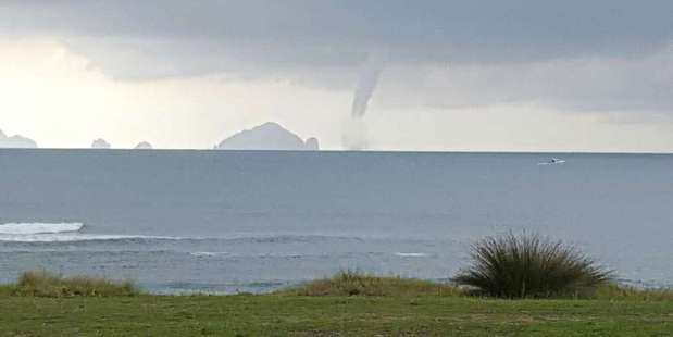 Waterspout on the horizon at Pauanui Photo / Abi Butler