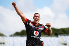 Tuimoala Lolohea of the Warriors celebrates after scoring a try during the round three NRL match between the New Zealand Warriors and the Melbourne Storm. Photo / Getty Images.