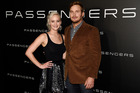Jennifer Lawrence and Chris Pratt star as space-survival lovers. Photo / AP