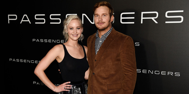 Jennifer Lawrence and Chris Pratt star as space-survival lovers. Photo / AP