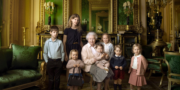 The Queen with her five great-grandchildren and two youngest grandchildren in her official birthday portrait Photo: Annie Leibovitz/AP