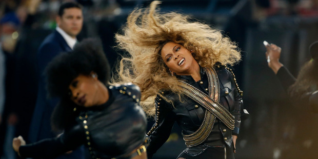 Beyonce performs during halftime of the NFL Super Bowl 50 football game. Photo / AP