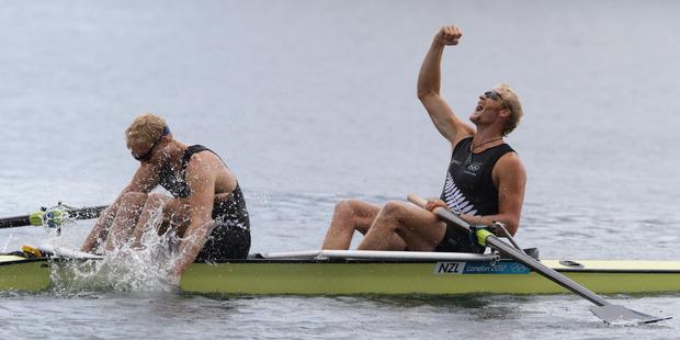 Eric Murray and Hamish Bond still haven't the spoils of Sir Steven Redgrave. Photo / Brett Phibbs