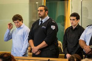 Leonard Nattrass-Berquist (left) and Beauen Wallace-Loretz stand in the dock at the High Court at Auckland. Photo / Greg Bowker