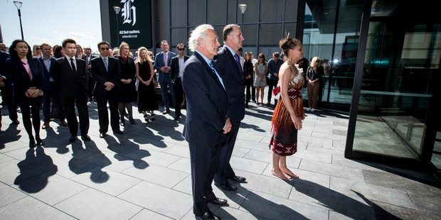 Prime Minister John Key during the official opening of the new NZME House in November last year. Augusta Capital has bought the building from developer Mansons TCLM. Photo / Dean Purcell.