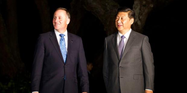 John Key and Chinese President Xi Jinping. Photo / Greg Bowker