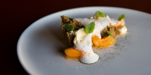Apricot, Vadouvan, Goats Milk and Verbena Dessert. Photo / Guy Coombes