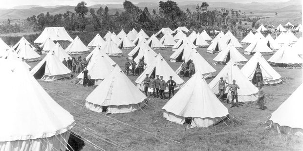 Preparing for war: Soldiers in camp at Oringi, south of Dannevirke, before they headed to the battlefields during World War 1. The camp housed over 4000 men.