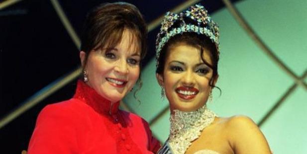 Julia Morley and Miss India, Priyanka Chopra, who won Miss World in 2000. Photo / PA