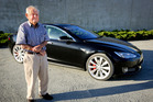 ELECTRIC: John Bridgeman is the proud new owner of one of the country's first Tesla S P90D electric cars. PHOTO/WARREN BUCKLAND