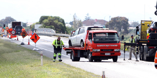 The scene of a fatal accident on Hawke's Bay Expressway, SH2B, Napier.
