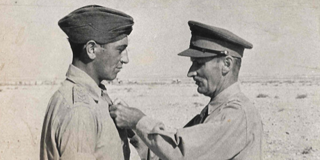 Captain (later Major) Porter receives the Bar to his Military Cross from Field Marshal Bernard Montgomery. PHOTO / PORTER FAMILY