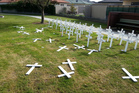 Some of the memorial crosses targeted by vandals.